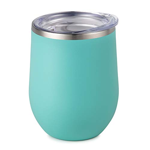Maars Bev Stainless Steel Stemless Wine Glass Tumbler with Lid, Vacuum Insulated 12 oz Cup | Spill Proof, Travel Friendly, Fun Cocktail Drinkware - Matte Mint