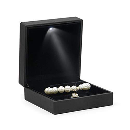 geneic - Scatola di lusso per bracciale quadrato con ciondolo per matrimonio, scatola regalo con luce a LED per proposta, fidanzamento matrimonio