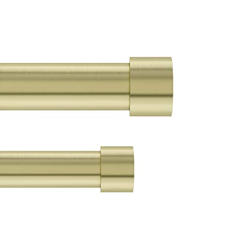 Umbra 1014557-104 Cappa 1-Inch Double Curtain Rod, Includes 2 Matching Finials, Brackets & Hardware, 36 to 66, Brass