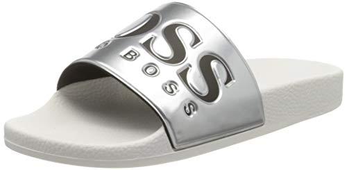 BOSS Herren Solar_Slid_mt Pantoletten, Silber (Silver 40), 42 EU