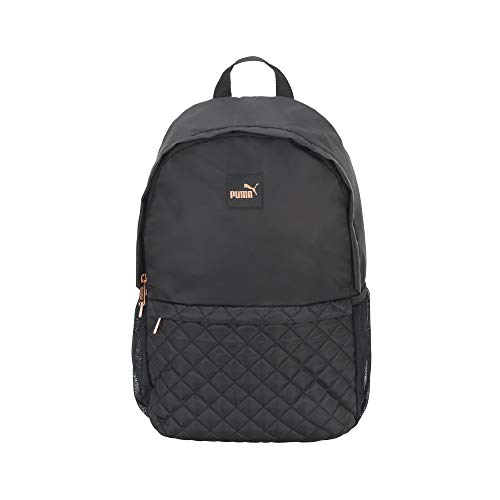 PUMA Women's Lux Quilted Backpack, Black/Pink, One Size