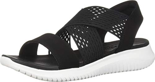 Skechers Ultra Flex-Neon Star, Sandalias de Talón Abierto Mujer, Negro (BLK Black Gore/Mitobuck Trim), 39 EU