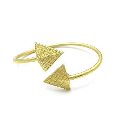 Egyptian Pyramid, Queen Nefertiti, Fist Piece 100% Solid Brass Cuff Bangle Bracelet (Pyramid/Medium)