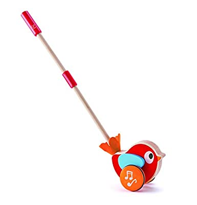 Hape Lilly Musical Push Along | Wooden Push Along Baby Walking Bird, Playful Kids Toy with Detachable Stick