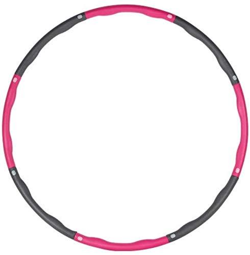 HFFFHA Hula Fitness-Reifen, Hoola-Reifen for Erwachsene Gewichtsverlust gewichtet mit 8 Abschnitten Schaumstoffpolster Hula-Hoops Home Fitnessstudio abnehmbar Hula-Hoop rot + grau