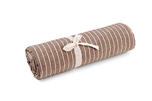 HomeLife Granfoulard Tagesdecke, gestreift, 160 x 280 cm, Mehrzweck-Überwurf aus Baumwolle, für Einzelbett, hergestellt in Italien, Braun