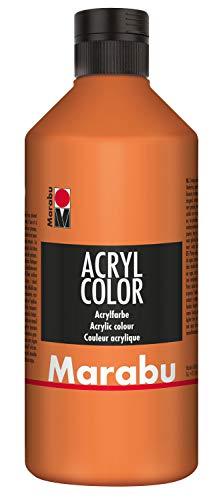 Marabu 12010075013 - Acryl Color orange 500 ml, cremige Acrylfarbe auf Wasserbasis, schnell trocknend, lichtecht, wasserfest, zum Auftragen mit Pinsel und Schwamm auf...