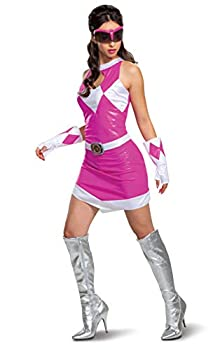Disguise Mighty Morphin Power Ranger s Deluxe Adult Halloween Costume Pink Small  4-6
