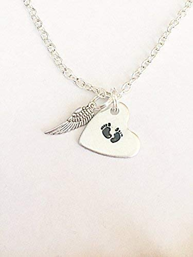 Baby Footprint Necklace Infant Loss Keepsakes Hand Stamped