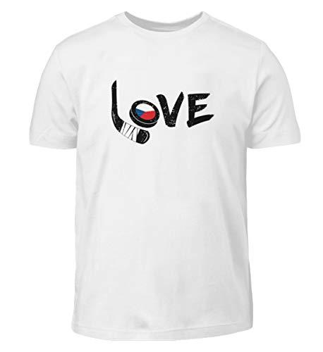 Eishockey Tschechien Liebe - Sport Motiv Flagge Hockey Spieler Mannschaft Cool Spruch Fan - Kinder T-Shirt -9/11 (134/146)-Weiß