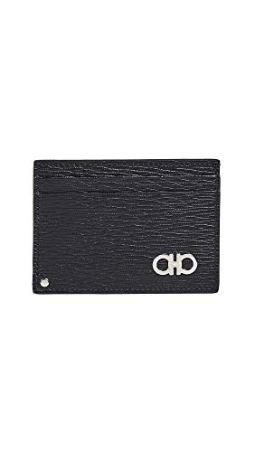 Salvatore Ferragamo Men's Revival Card Case, Black/Red, One Size