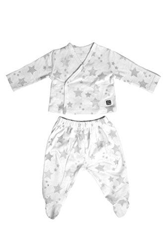Minutus Conjunto Bebé - Camiseta Manga Larga y Polaina - 100% Algodón - Estrellas Gris - Colección Etoile