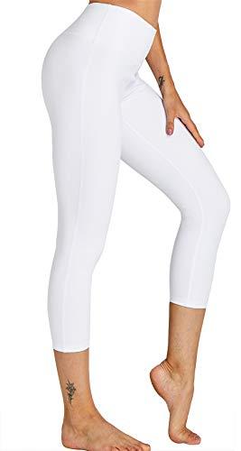 Leggins largos Yoga Capris Coolomg para mujer, de compresión, para hacer deporte, tallas S, M, L y XL Weiß (3/4 Hose) XXL