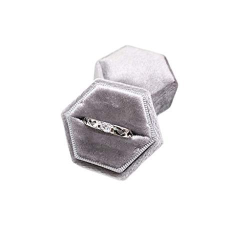 Gulang-keng - Caja para portador de anillos de terciopelo, magnífico soporte de exhibición de anillo único vintage con tapa desmontable para el día de San Valentín, propuesta, compromiso, ceremonia de