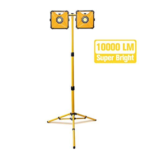 PROSTORMER 10,000LM Dual-head LED Work Light with 2 Brightness Modes, IP66 Waterproof Jobsite Light with Telescoping Tripod Stand for Construction Site, Workshop, Garage