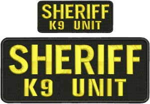 Embroidered Hook on Back for Vest - USA Police Tactical Morale Custom Patch - Sheriff k9 Unit Embroidery Patches 4x10 and 2x5 Hook on Back Gold Letters