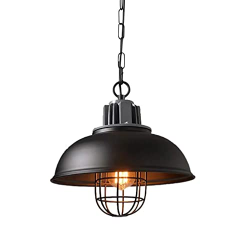 SYMX Lámpara de araña Industrial de Metal Vintage, lámpara Colgante de luz de Techo Colgante Industrial Retro 1 luz con Cadena Ajustable en Altura E27 para Restaurante, Interno y Externo Negro