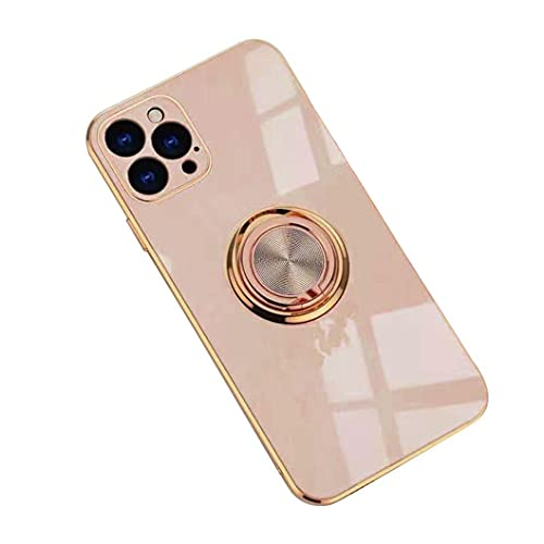 Jacyren Hülle für iPhone 12 Pro Max Handyhülle,iPhone 12 Pro Max Schutzhülle Ultradünnes magnetische KFZ-Halterung mit 360-Grad Finger-Halter Schale für iPhone 12 Pro Max (iPhone 12 Pro Max, Milchtee)