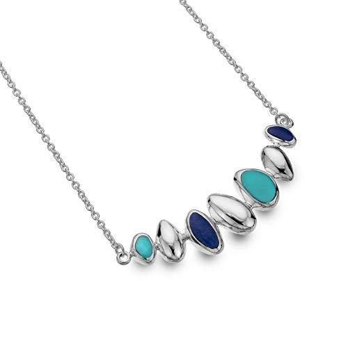 Sea Gems Turquesa Y Lapis Collar Plata Maciza de Ley Contraste Lujo Caja