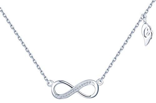 Collares Clásico- Yumilok 925 CollaresPlata de Ley Colgante y Cadena con Circonitas, Simbolo del Infinito, Regalo para Mujer Chicas
