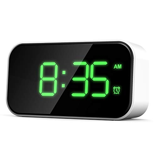 Soapow Reloj despertador digital con pantalla de 5 pulgadas, con doble puerto USB, 6 niveles de brillo para dormitorio de casa