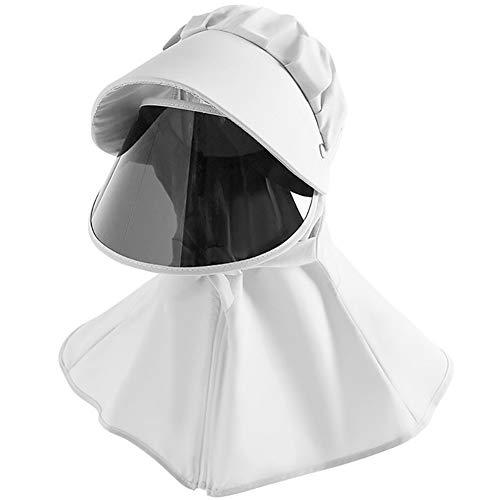 FKYNB Erwachsene und Kinder Anti-Tröpfchen-Schablonen-Hut Removable Solid Color Außenreitplatz Sonnenschutz Anti-UV-Sommer mit Sonnenbrille Full Face Sonnenhut (Color : White, Size : Kids)