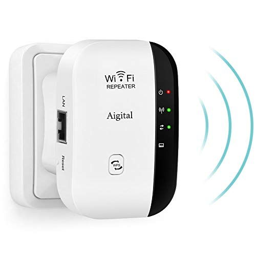 WiFi Extender Booster Long Range Mini 300Mbps Signal Amplifier with Fast Ethernet Port, Compact Design and Internal Antennas Support AP/Repeater Mode WPS for Any Router & Alexa Devices-2.4GHz