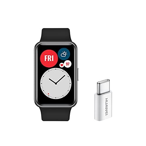"""HUAWEI WATCH FIT - Smartwatch, pantalla AMOLED de 1,64"""" y Adaptador USB-C, hasta 10 días de batería, 96 modos de entrenamiento, GPS incorporado, 5ATM, saturación de oxígeno en sangre, Negro"""