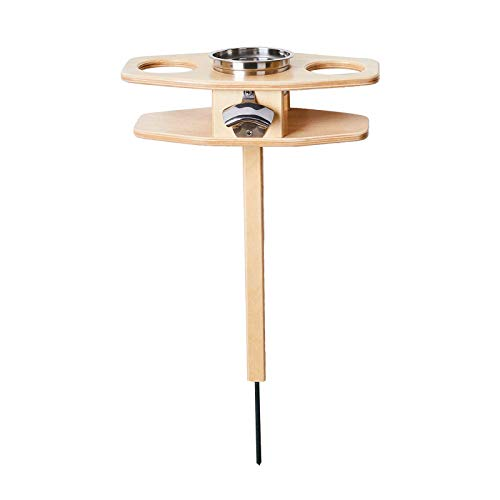 Outdoor Portable Garden Wine Table Mini Foldable Desk Insert into Ground Wooden Table Easy to Carry for Travel Picnic Camping (D, Foldable)