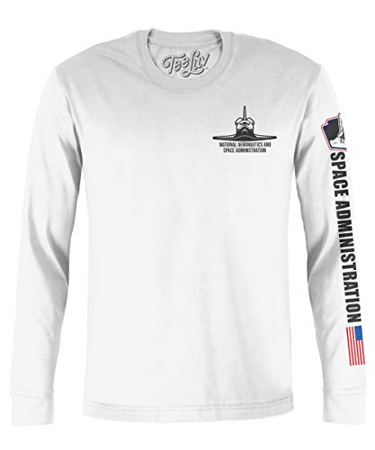 Tee Luv NASA Shuttle Graphic T-Shirt - Long Sleeve NASA Worm Logo Shirt (Medium) White