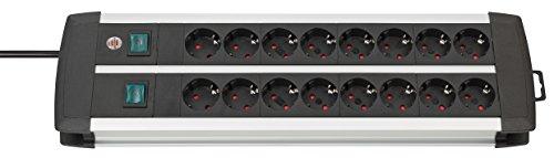 Brennenstuhl 1391000916 Premium Aluminium Line, Stekkerdoos 16-Voudig, Zwart