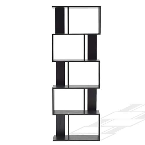 Rebecca Mobili Büroregal, Standregal Home Office Schwarz mit 5 Ablagen, modernes Design, Wohnaccessoire Haus Wohnzimmer – Maße: 172,5 x 60 x 24 cm (HxLxB) - Art. RE4786