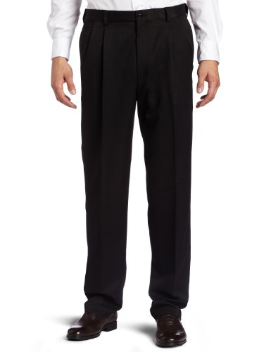 Haggar Men's Cool 18 Heather Solid Pant - Regular - 40W x 30L - Black
