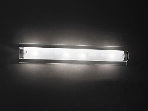 Applique murale Chrome poli avec verre transparent et dépoli 1 Ampoule E14 max 40 W dim. L12xH70XP9 modèle Perenz 5480 cm