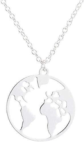 WYDSFWL Collar Globo Mapa del Mundo Collar Regalo para Mejores Amigos Colgante de Tierra Hueco Personalizar Collar de Viaje Collar de joyería Collar