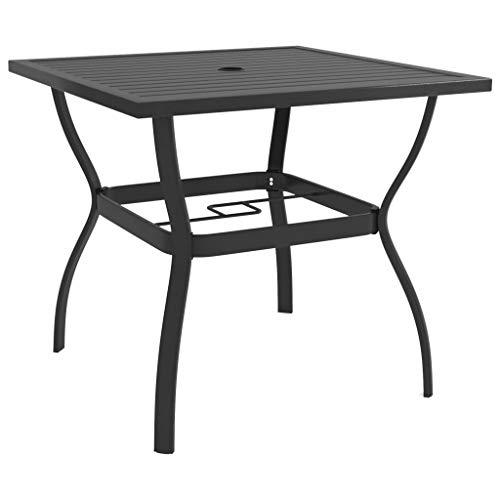 vidaXL Mesa de jardín de estilo industrial, mesa de comedor, terraza, balcón, mesa de jardín, mesa de metal antracita, 81,5 x 81,5 x 72 cm, acero