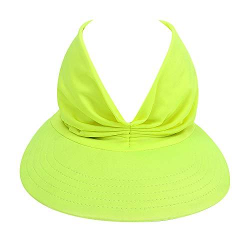 Summer Hat Women's Sun Visor Sun Hat Anti-Ultraviolet Elastic Hollow Top Hat Sun Visor Hats Women Large Brim Summer UV Protection Beach Cap Solid Color Sun Hats for Women Mint Green 56-58 cm
