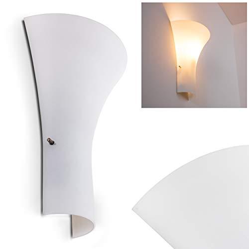Wandlampe Nerola aus Metall/Glas in Weiß, moderne Wandleuchte mit Lichtspiel an der Wand, 1 x E27 max. 60 Watt, Innenwandleuchte mit Lichteffekt, geeignet für LED Leuchtmittel