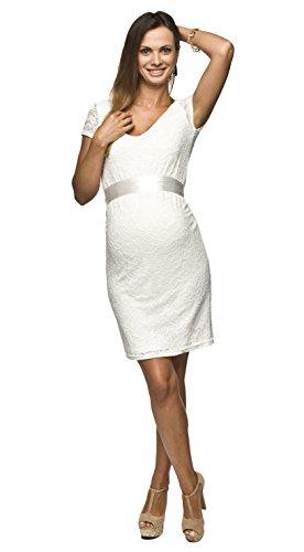 Torelle Damen Umstandskleid Brautkleid für Schwangere, Modell: LACE, Kurzarm, Weiss/Creme, M