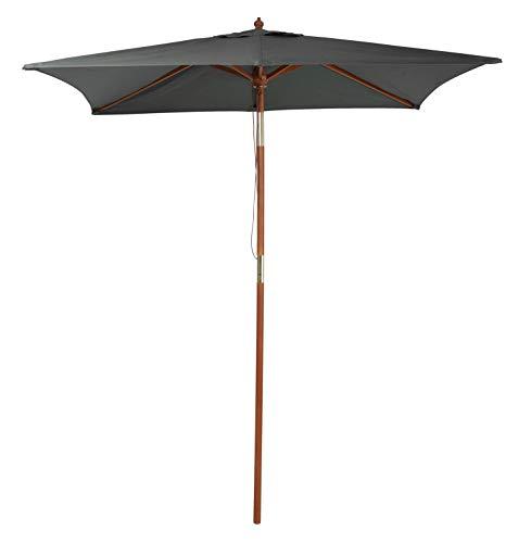 Pure Home & Garden Holz Sonnenschirm Pino 200 x 150 cm anthrazit, mit UV-Schutz 50 Plus, Knickfunktion und abnehmbarem Bezug