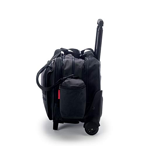Hopkins Medical Products Rolling Med Bag with EZ-View Features, 600D Waterproof Polyester, Padded Laptop Section, Lockable File Pocket, 39.5 In. Handle, 16 In. x 3 In. x 12 In, Black