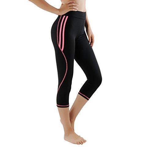 GoVIA Damen Laufhose Training Leggings Caprihose streche Fitness Yoga 3/4 Sporthose 4134 Pink M