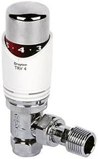 Drayton TRV4–Válvula termostática acodada para radiador termostático válvula 10mm blanco con cromado cabeza