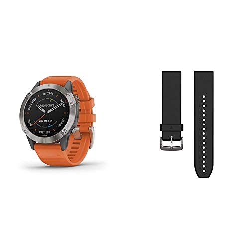 Garmin Fenix 6 Sapphire, Premium Multisport GPS Watch, Features Mapping, Music, Grade-Adjusted Pace Guidance and Pulse Ox Sensors & 010-12740-00 Quickfit 22 Watch Band - Black Silicone