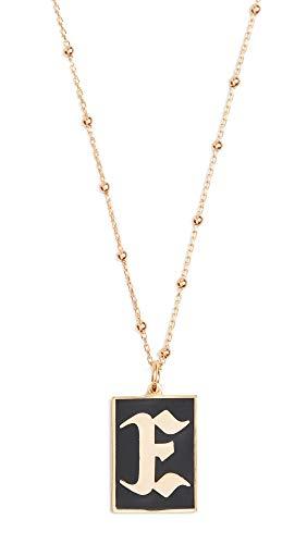 Maison Irem Women's Gothic Initial Necklace, E, Gold, Black, One Size