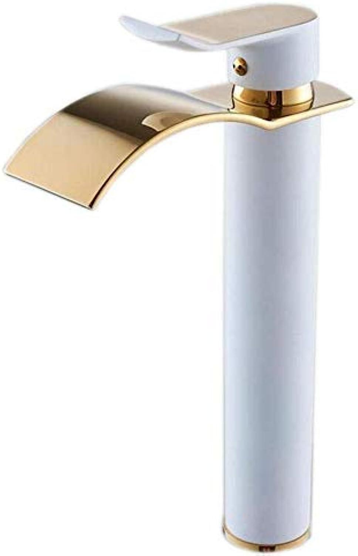 Verchromte Einstellbare Temperaturempfindliche Led-Wasserhahn Malen Sie Bronze-Wasserfall-Heies Und Kaltes Waschbecken