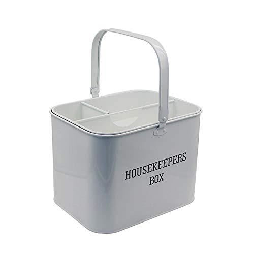 yshardware Cleaning Caddy Metal Housekeeping Caddy with Handle, White Cleaning Products Organiser,...