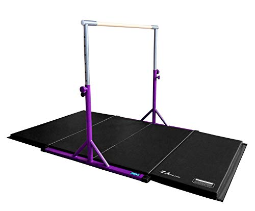 Z ATHLETIC Expandable Kip Bar Adjustable Height for Gymnastics, Training & 4ft x 6ft x 2in Mat (Purple & Black)