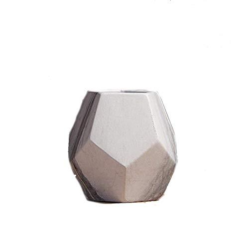 Vaser Vit keramisk vase nordisk heminredning marmorerade vase geometriska formade ramp konsistens mode för skrivbord bordsinnehavare hem kontor vardagsrum tv bänk dekoration (färg: liten)