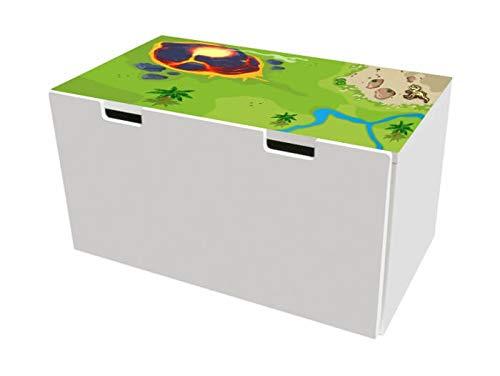 Dinoland Möbelfolie | BTD10 | Möbelaufkleber mit Dinosaurier-Motiv | passend für die Kinderzimmer Banktruhe STUVA von IKEA (90 x 50 cm) | Möbel Nicht Inklusive | STIKKIPIX